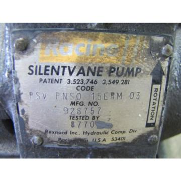"RACINE SILENTVANVE PSV PNS0 15ERM 03 ROTARY VANE HYDRAULIC PUMP 3/4"" 1/2"" NPT"