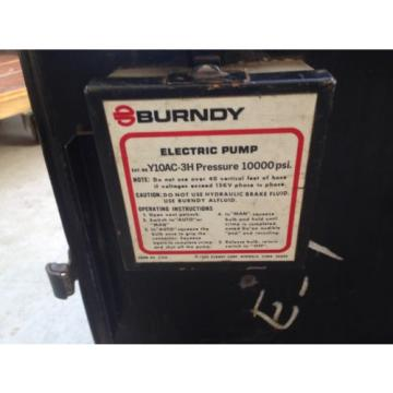 Burndy Electric Hydraulic Pump Y10AC-3H 10,000 psi