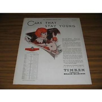 1930 Print Ad Timken Tapered Roller Bearings Girl in Car with Stuffed Bunny