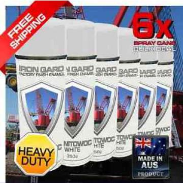 6x IRON GARD Spray Paint MANITOWOC WHITE Crane Excavator Skid Dozer Loader Truck